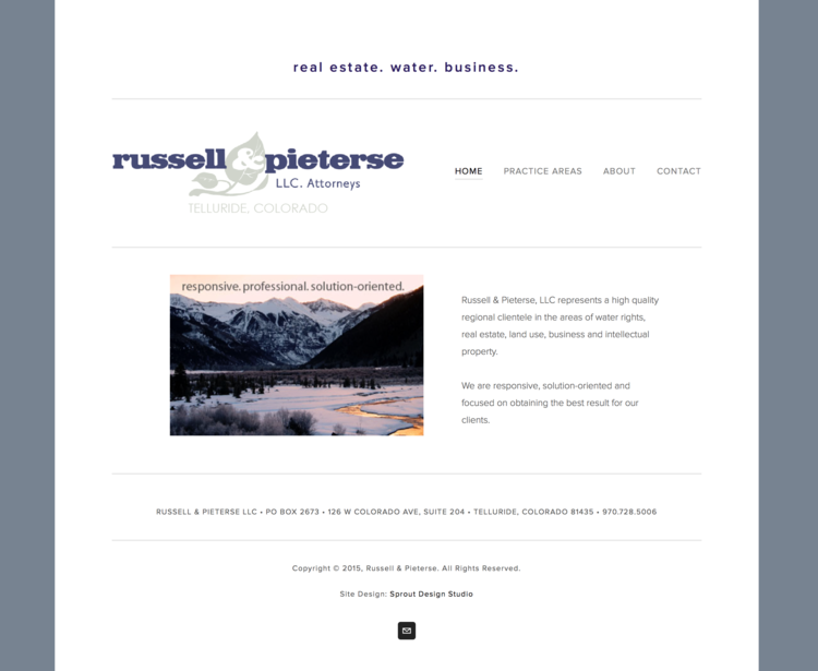 Website for Russell & Pieterse Law Firm
