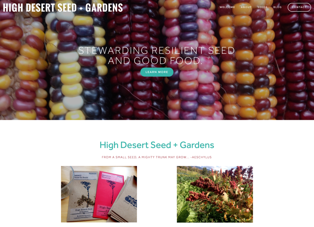 Website for High Desert Seed + Gardens