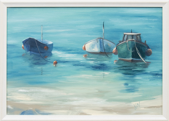 Painted these little boats in the sunshine from the harbour beach in St Ives last weekend - it's a terrible life, being a painter!