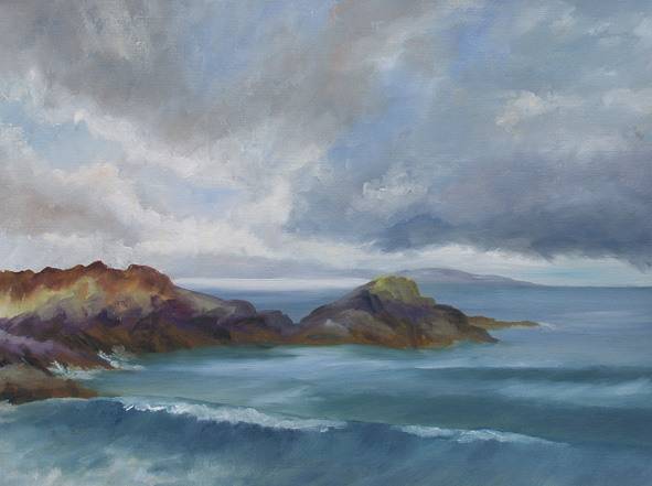 Just returned from a week in a cottage on the west coast of Scotland. Managed to get out and paint on location a couple of times. I really enjoyed the process - made me paint more quickly because of the cold so the paintings have more energy than my studio work. Can't wait to get out to Apley and do some more now that I have worked out the logistics of making oil paintings 'en plein air'!