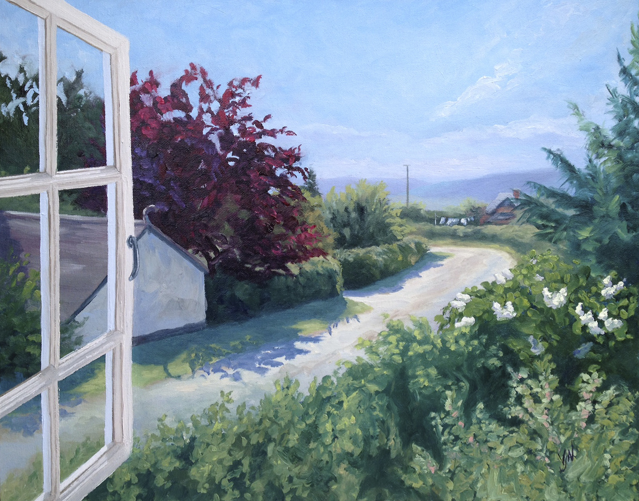 A commission of the view from the window of a holiday cottage in Bishop's Castle - I really enjoyed capturing the English summer sunlight - especially with the shadows under the hedge
