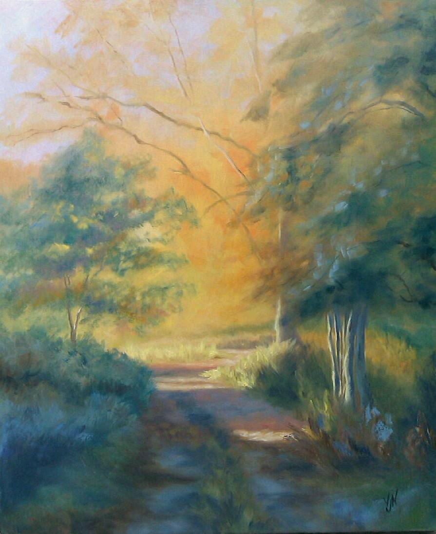 """Winscote Drive"" Just finished this one. Playing with light as usual, can't seem to help returning to this gold and green theme lately, guess that's because I'm still painting autumn…winter pictures coming soon!…"