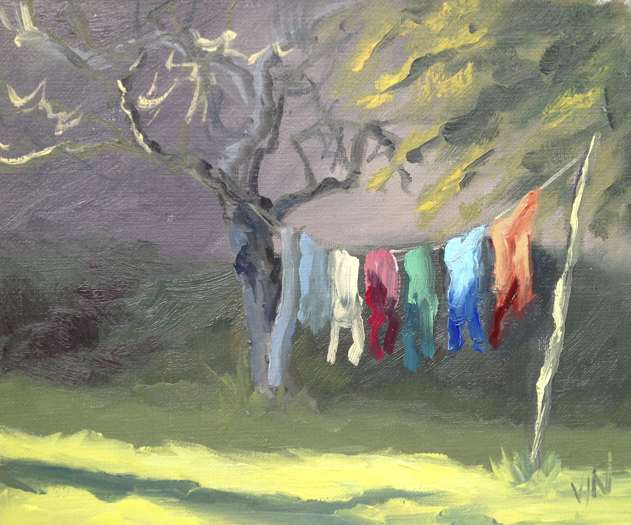 A Plein Air oil study of sunlight catching the laundry on the line. I enjoyed the challenge of painting it quickly before the light changed.