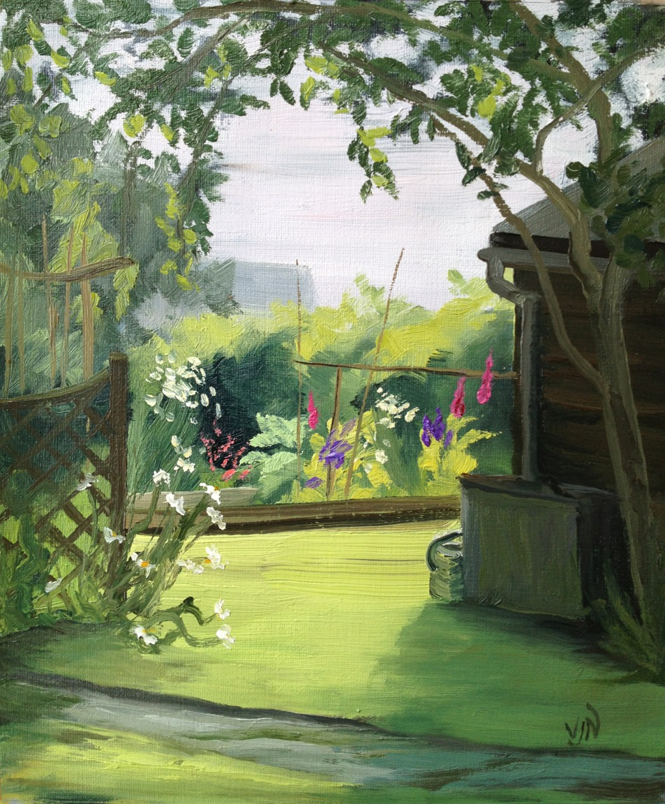 A Plein Air oil study of Mick Gilmore's garden. I enjoyed capturing the contrast if light and dark here.