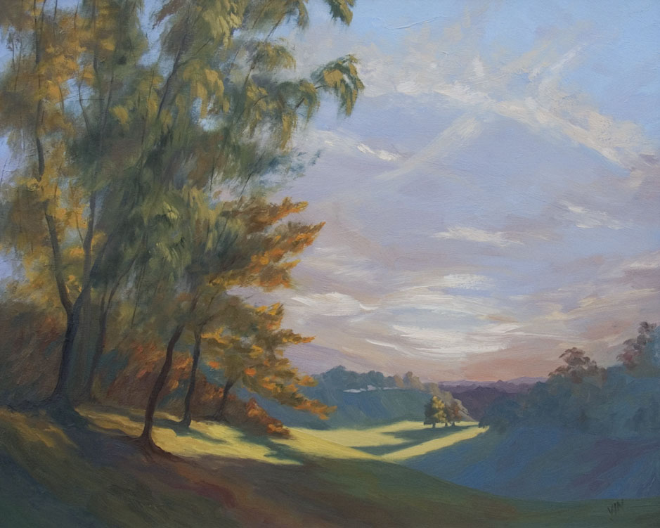 Just finished this commission of the horseshoe valley in Apley Park. England is so beautiful in the lovely light at this time of year.