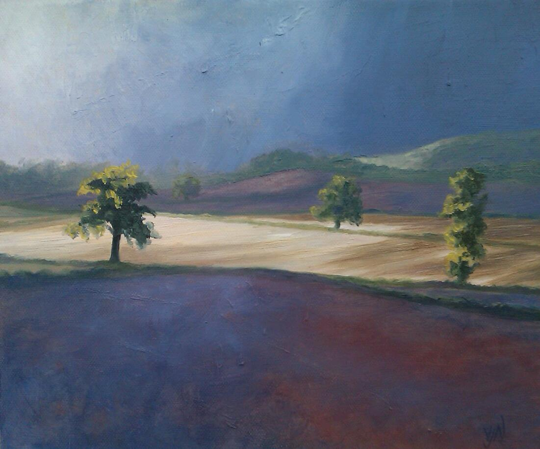 A small study of sunlight on a stubble field after a storm shower, think I'll make a bigger version soon!