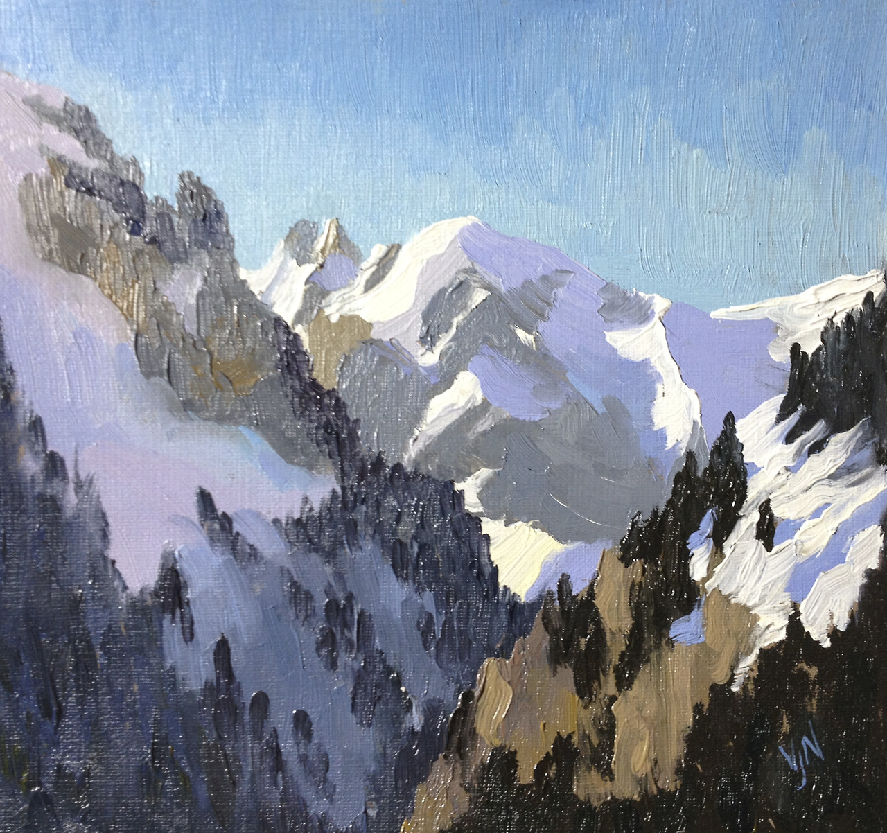 A little study made from the window of our apartment in Flaine - practising the colours to capture the light.