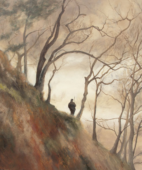 A painting of Graham Manton walking along the terrace in January, I wanted to capture the light behind the tree shapes.