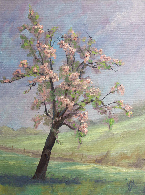 Spotted this tree a couple of months ago and I've been dying to paint it ever since - the thick paint on the blossom is like ice-cream, delicious!
