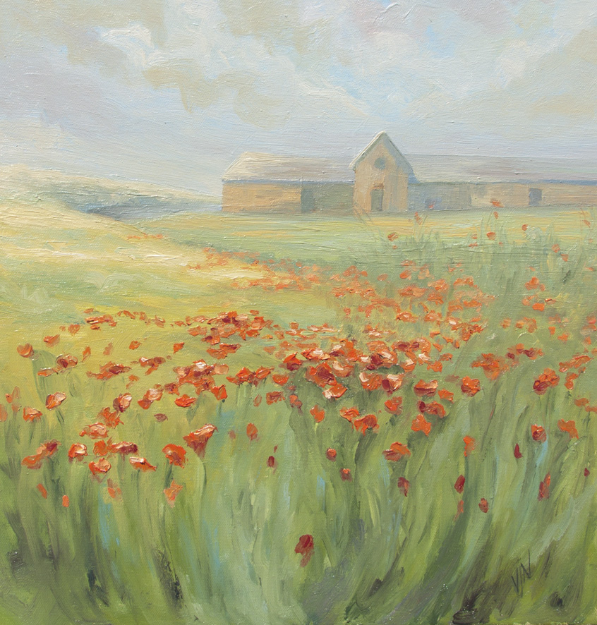 """Poppies at the Creamery"" a happy summer image of the location of my fast approaching exhibition!"