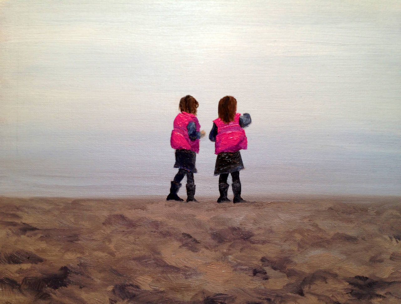 A small painting of my twin god daughters on the shore of a misty Loch Lomond