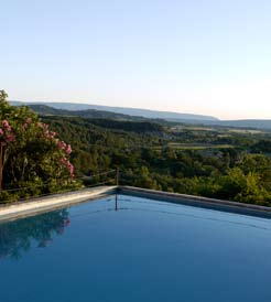 View from the swimming pool across Alpilles Hills