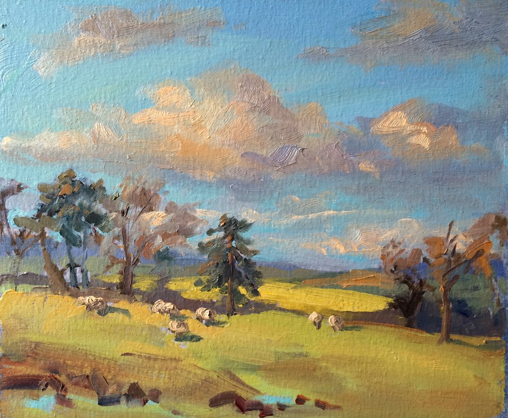 Shropshire fields. Paint on location in rural Shropshire