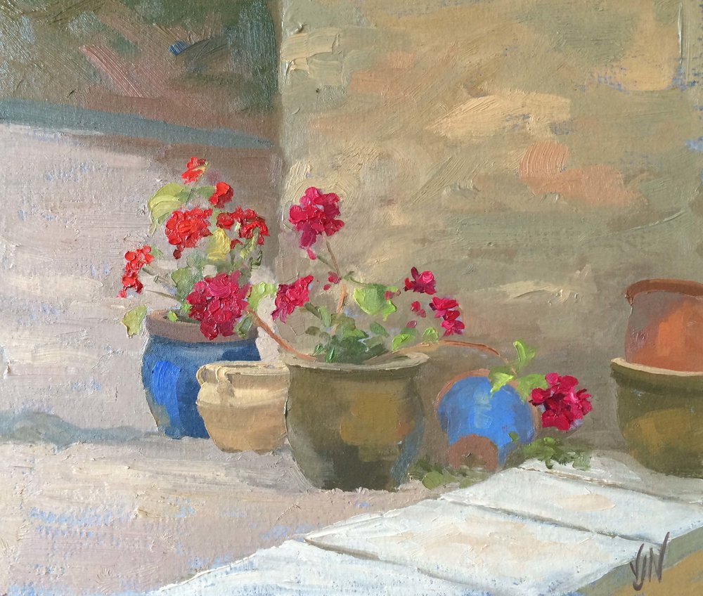 Pots in the Yard. Michael Harding oil painting demonstration