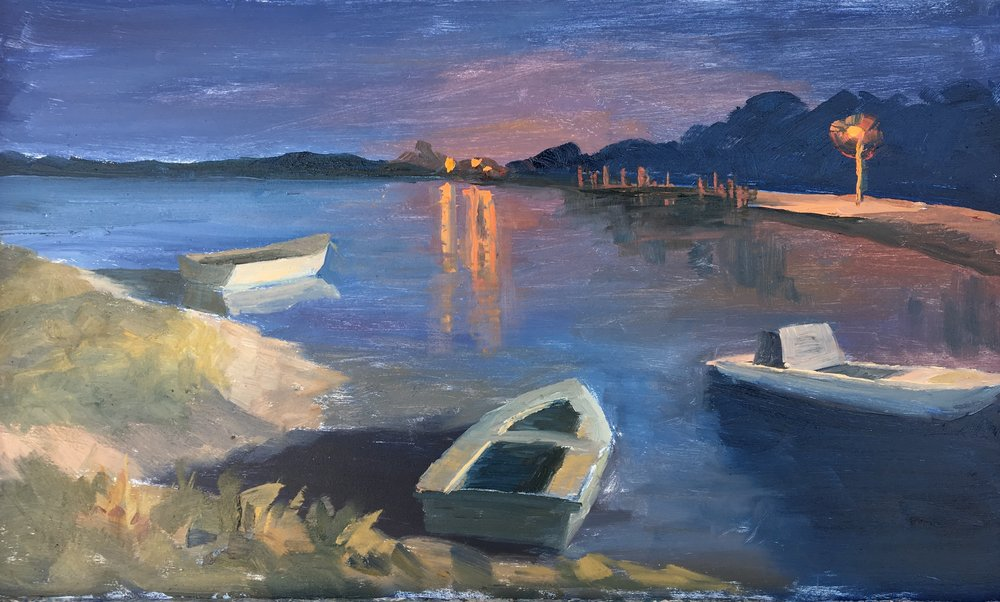 Oyster boats by night