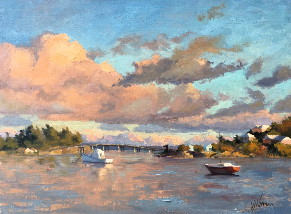 """Afternoon Glow"" wins Best Painting in Show at Plein Air Bermuda!"