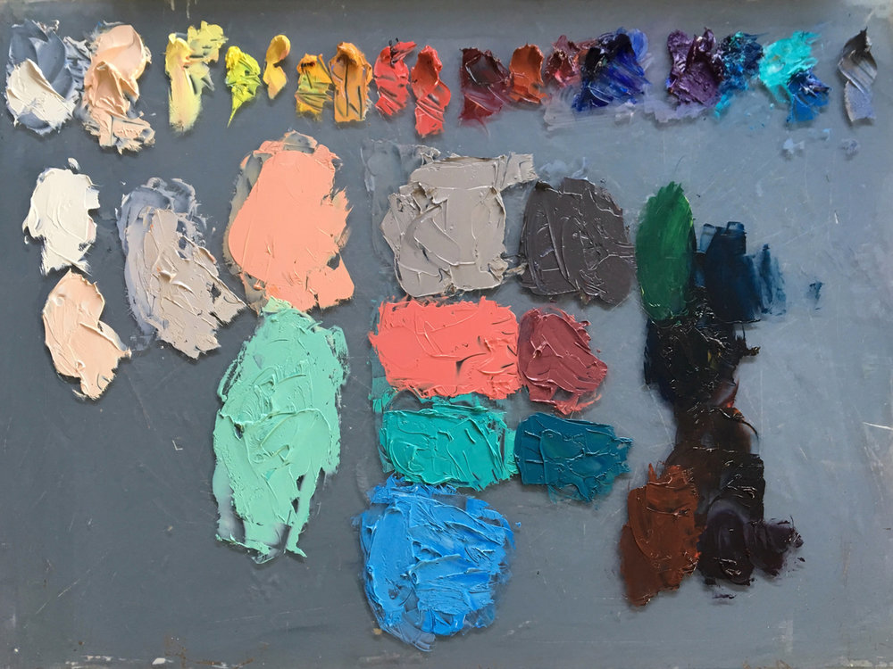 Notice how the colours run from light to dark across the palette.