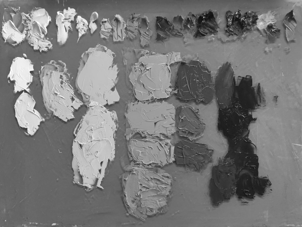 In greyscale it is much easier to see the difference in tonal value from one colour to another. The palette is arranged with 5 distinct value bands running from left to right.