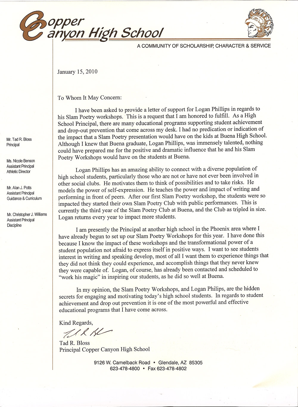 Letter of recommendation from a school principal