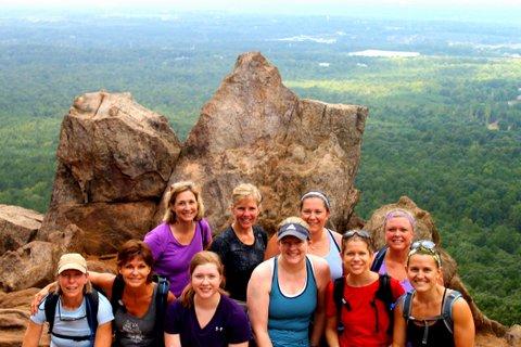 CrossFit Jane athletes hiking at Crowder's Mountain.