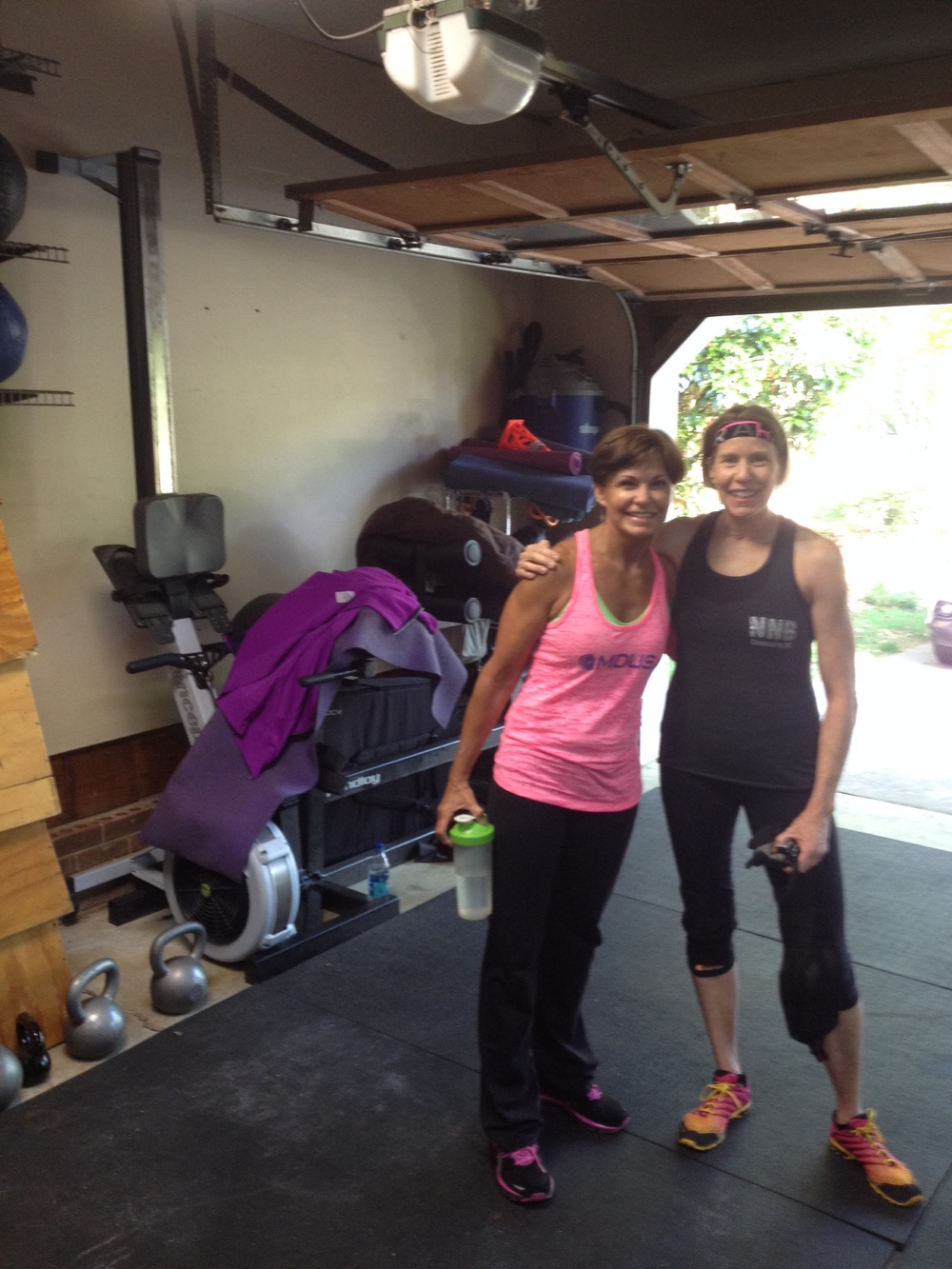 Mickie and Martha, a team of hard-working fit women.