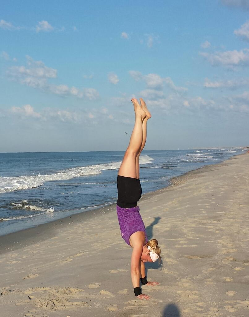 Becca attacking her weaknesses after a beach WOD!