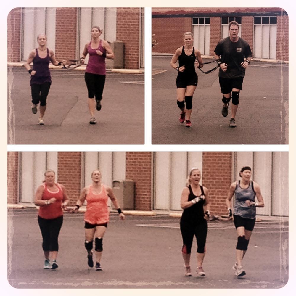Partner WOD Saturday! Banded together for runs.