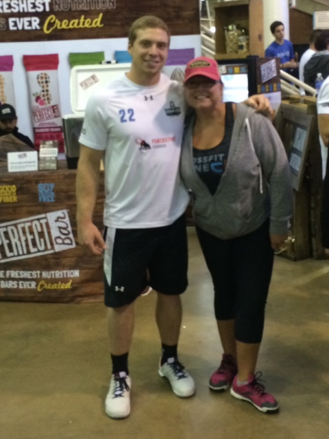 Kristie representing CrossFit Jane at the GRID. Pictured with CrossFit Games Athlete Marcus Hendren.