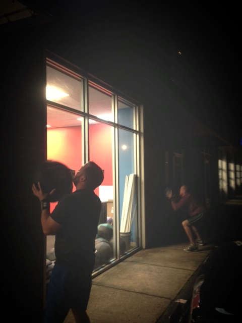 5 am wall balls in the dark? No problem for Rob and Nate!