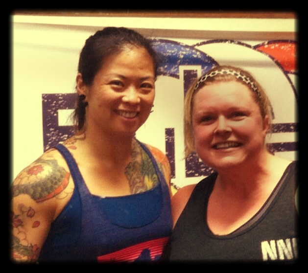Kristie at San Francisco CrossFit in class with Diane Fu.