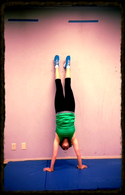 Kimlani looking strong in her handstand.