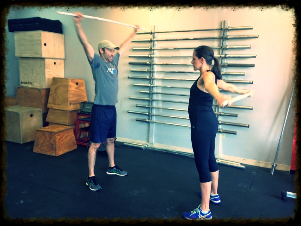 Frank showing his wife, Beth, how it is done at Bring a Buddy Day onSaturday.