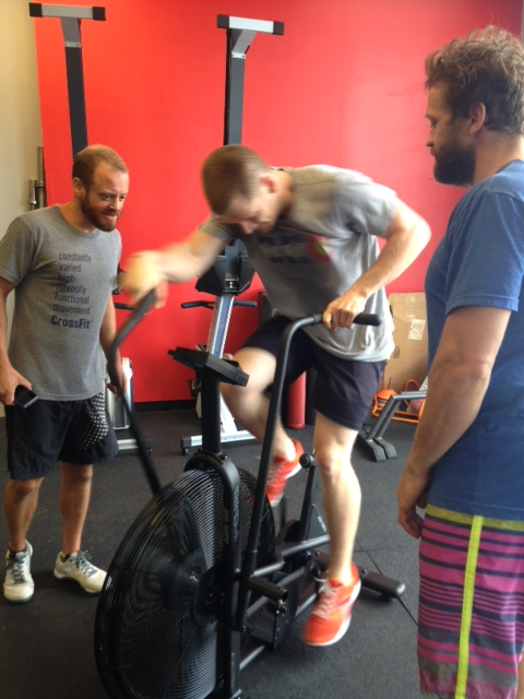 Coach Nate and Coach Brent challenging/torturing Jeff.