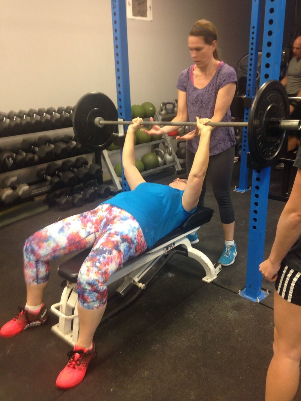 Patty looking strong bench pressing for the first time in her life!