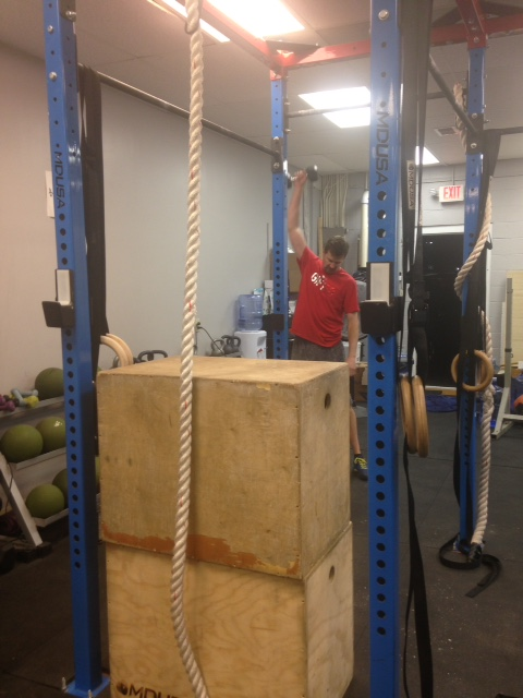 After his amazing rope climbs, Ed built a fort so Coach Jaime could not see him during the WOD.