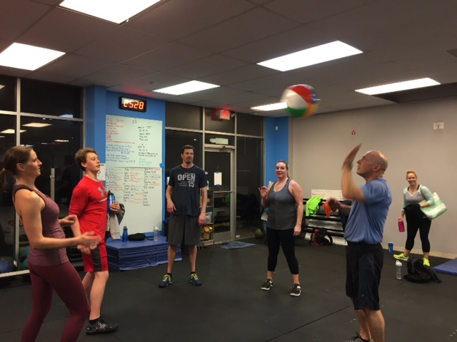 Gene showing that beach ball who is boss.We can't let CFJ Kids have all the fun. The 5:30 pm cool down.
