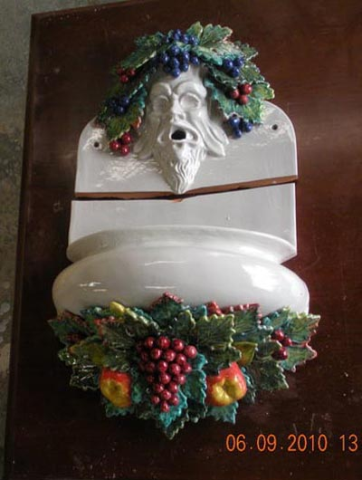 was selected to restore a Capodimonte style wall fountain that was made by one of the ceramic houses in Italy that supplies tile and some sculptural pieces to the Vatican-1..jpg