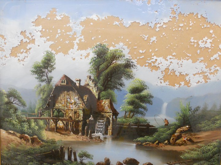 just finished restoring a vintage reverse oil painting that had badly deteriorated sky..jpg