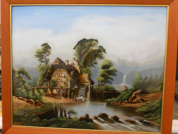 Vintage reverse oil painting