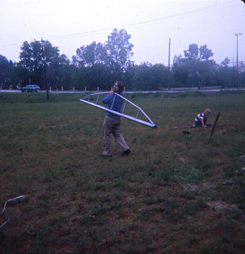 1977 Andre Philpot  Installing new soccer goalposts in Memorial Park