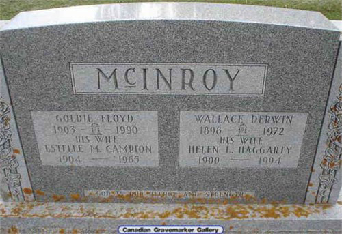Gravestone, Estelle Campion, Goldie Floyd McInroy,  Wallace Derwin McInroy, Helen Haggarty