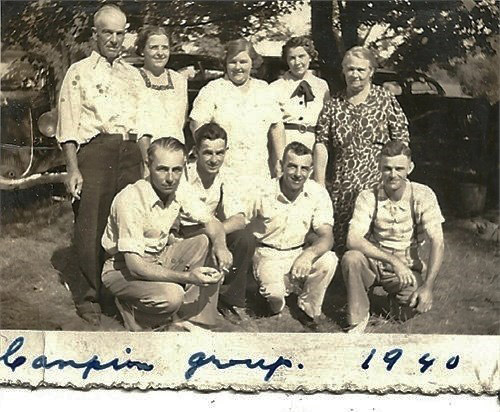 1940,Harry German Campion family at Booster Park, Crowe Lake