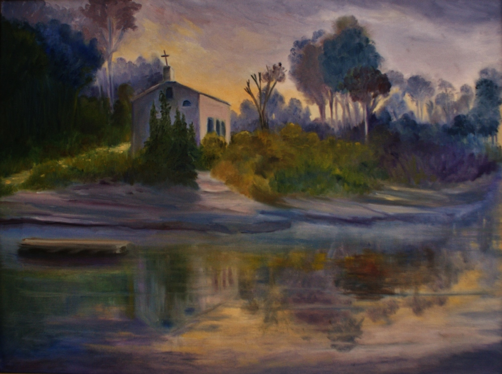 Oil painting of St. Matilda's Church, Crowe River, Marmora,  by Anne Philpot