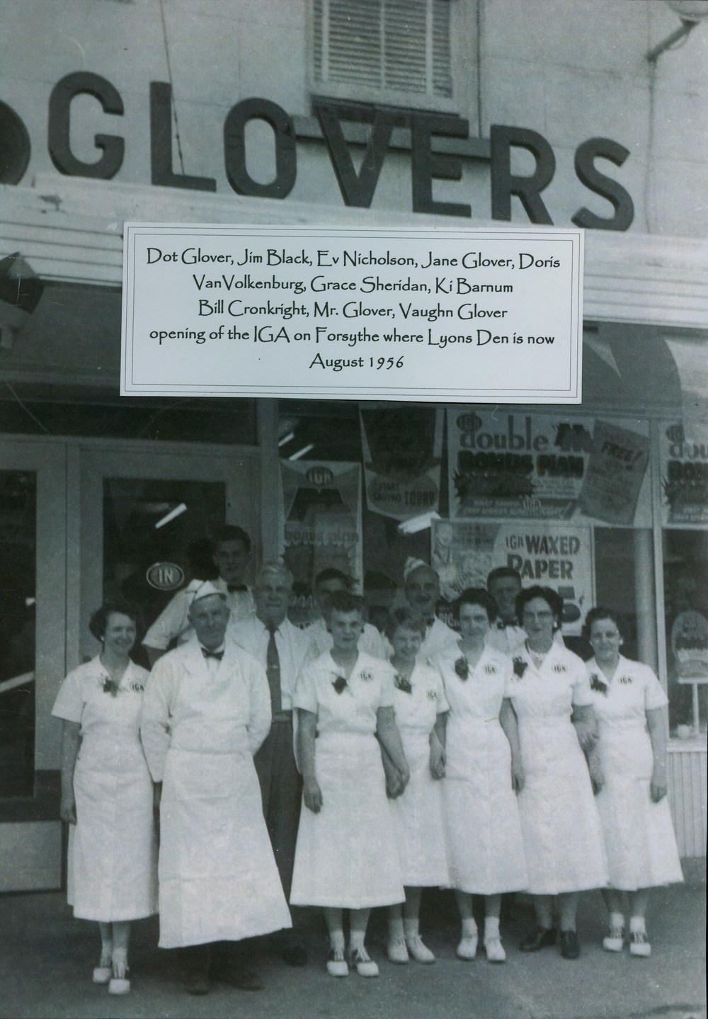 Glovers Grocery staff 1956