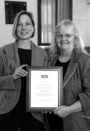 "Councillor Linda Bracken presented Hawthorne with a framed certificate of appreciation from the municipality, recognizing her achievement and thanking her for her ""determination, compassion and enthusiasm to make sure the history of the Deloro Mine Site is preserved."