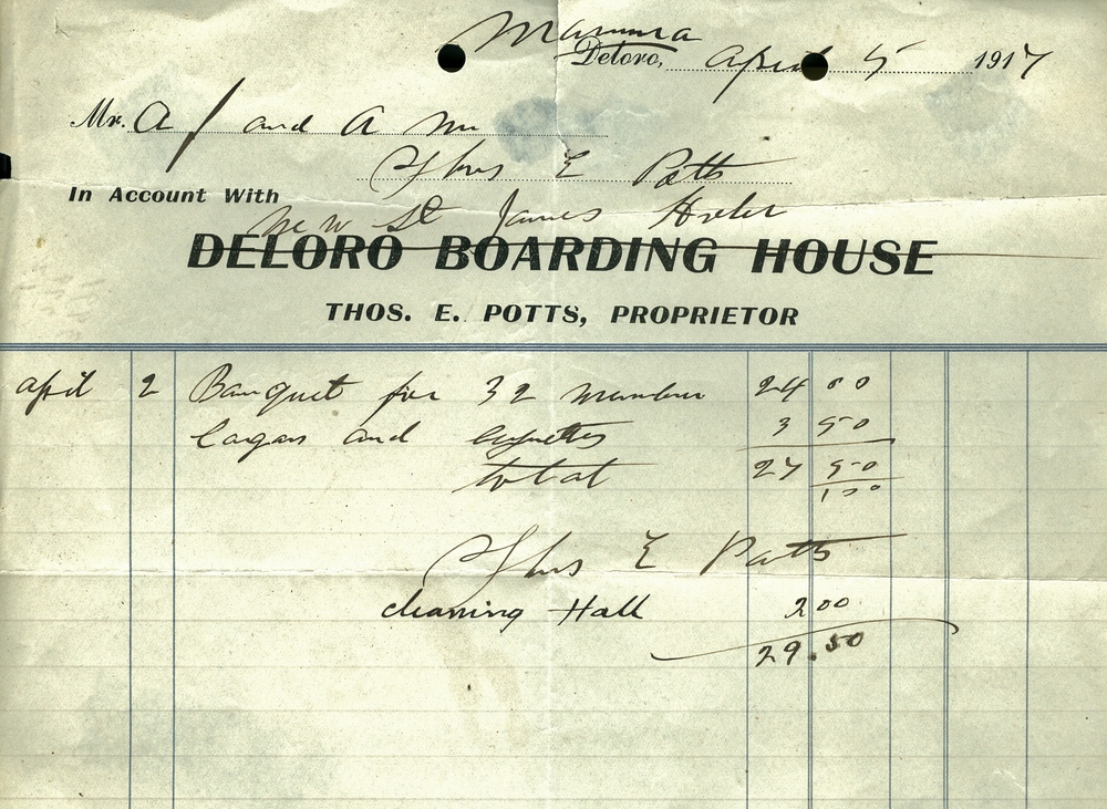 Thomas Potts not only ran the Deloro Boarding House,  but also the Royal Hotel in Marmora,  and the Tipperary Hotel on Crowe Lake.