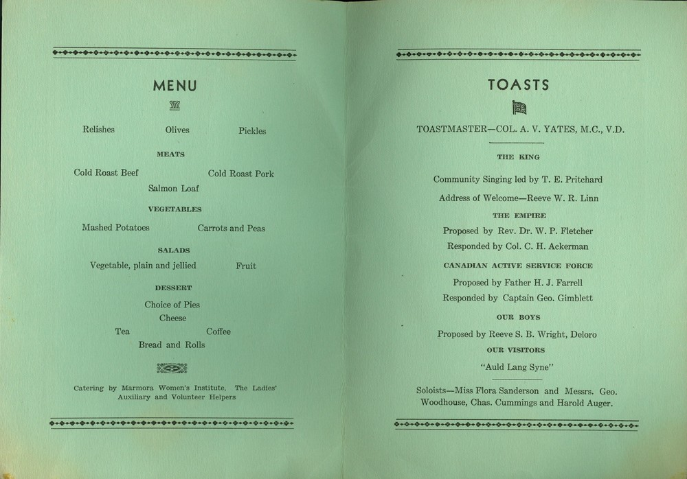 Wartime - Farewell Banquet Program pg 2,  1939, Hastings & Prince edward Regiment, Town Hall, Canadian Legion.jpg