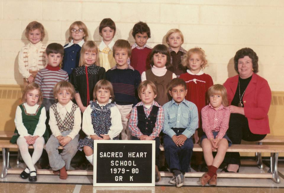 Sacred Heart School Kindergarten 1979 Back Row: Keri Vesterfelt, unknown, Jenny Bedore, Mark Darmanin, unknown Middle Row: Jason Stark, Sara-Jane Sopha unknown, Ashley Robinson, Jeanna Bonter,  mrs. verna hughes Front Row: Michelle Rodine, Peter Gawley, Allison Philpot, unknown, Alex Morrison, Jean-Ann Callery