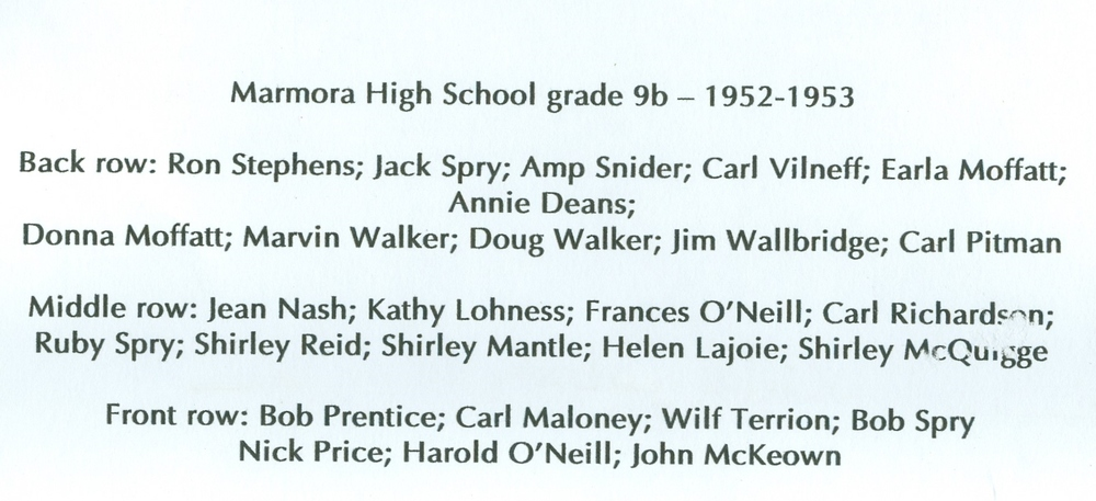 1952-1953 Marmora High School Grade 9B names.jpg