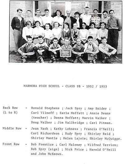 Marmora High school 1952 Class 9B.jpg